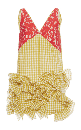 Medium msgm multi yellow gingham sleeveless dress