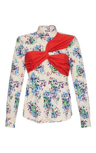 Medium msgm print light pink bouquet poplin shirt