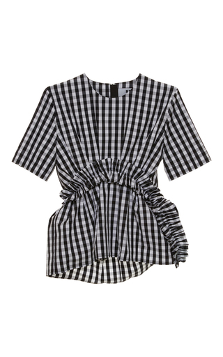 Medium msgm black white gingham ruched short sleeve top