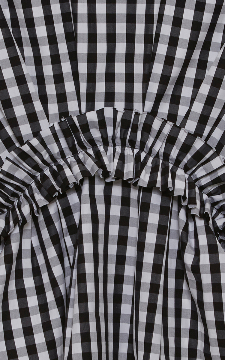 Gingham Ruched Short Sleeve Top By Msgm Moda Operandi