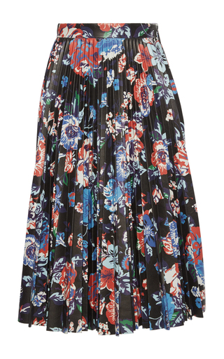 Medium msgm floral black floral faux leather pleated skirt