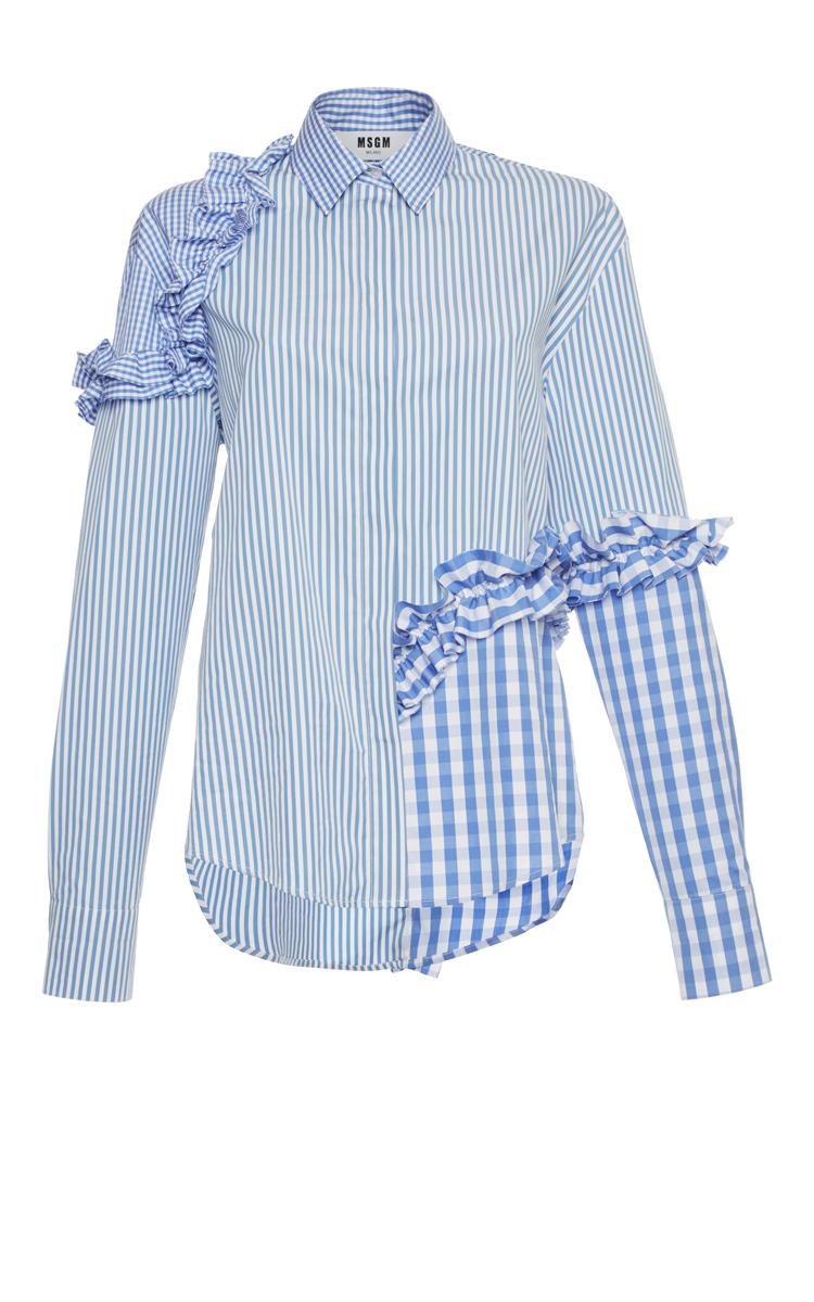 Gingham Stripe Ruffle Shirt