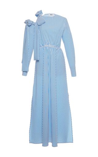 Medium msgm blue open shoulder seersucker long dress