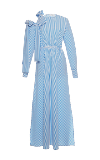 Medium msgm blue open shoulder seersucker long dress