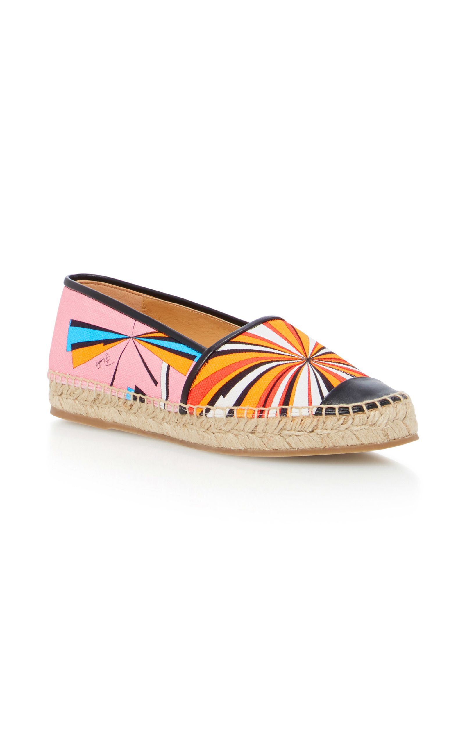 Leather-Trimmed Printed Canvas Espadrilles