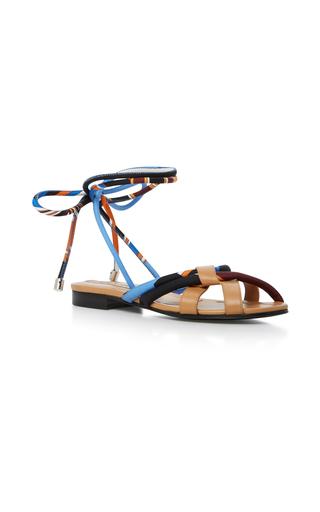 Medium emilio pucci blue leather trimmed silk twill sandals
