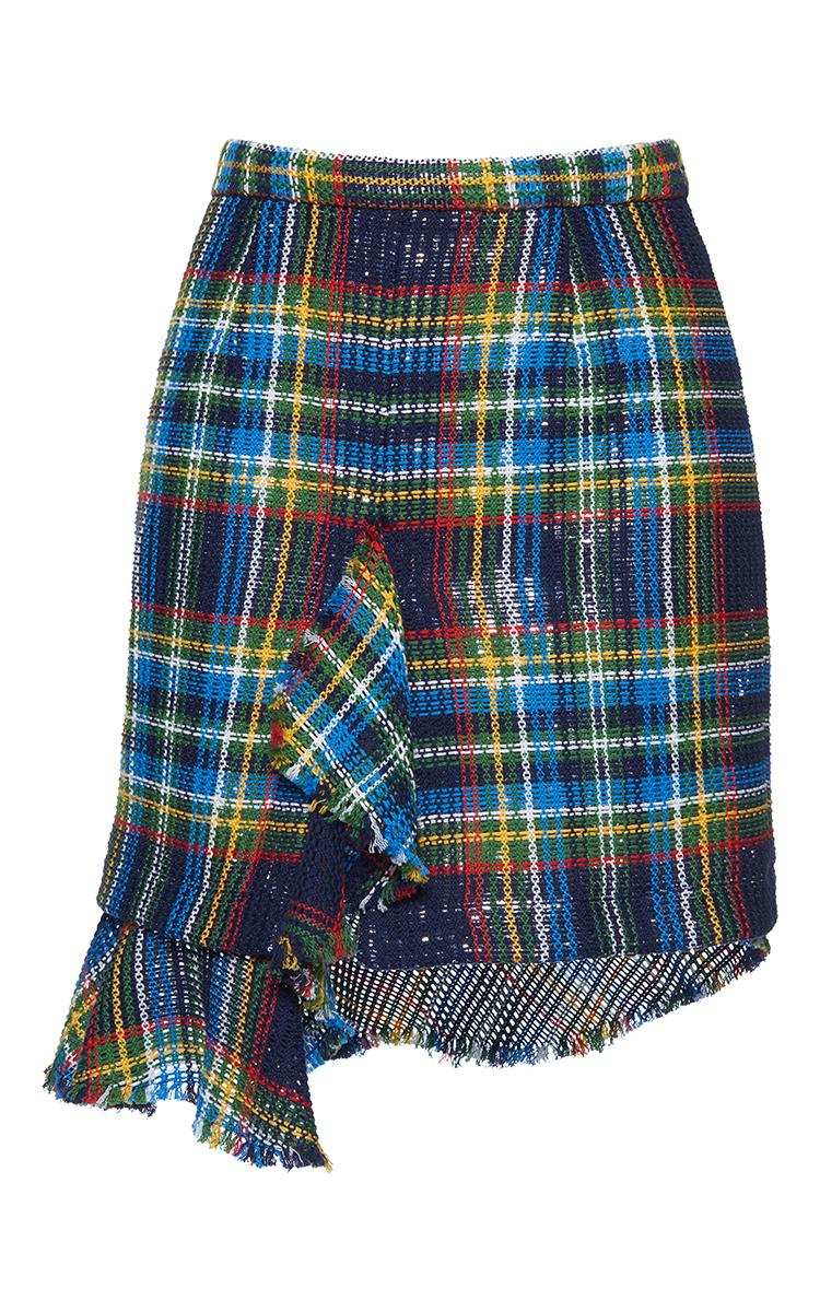 Cotton Tartan Net Rouche Mini Skirt by Marco de Vincenzo | Moda Operandi