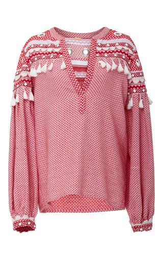 Medium dodo bar or red nathaniel tassel embroidered shirt