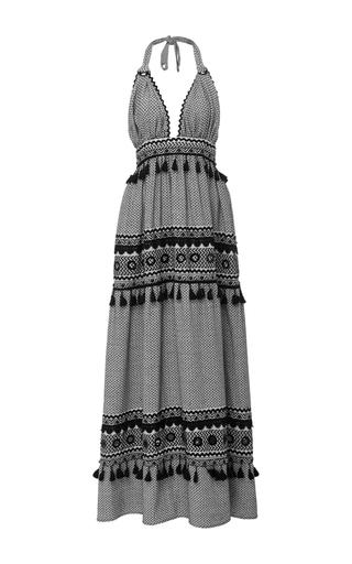 Medium dodo bar or black david tassel halter dress