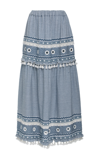 Medium dodo bar or light blue ataliya embroidered maxi skirt