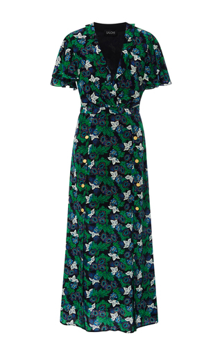 Medium saloni floral josee v neck maxi dress