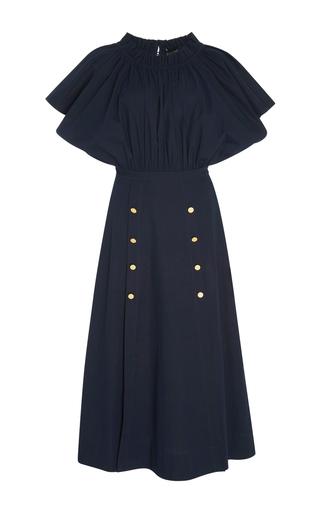 Medium saloni navy dakota off the shoulder midi dress
