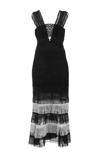 Medium jonathan simkhai black fringe bandeau dress