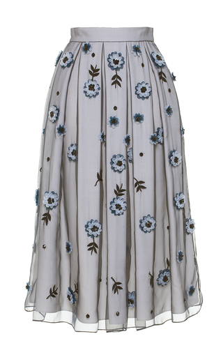 Medium holly fulton blue floral organza a line midi skirt