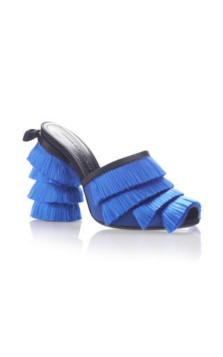 Medium marco de vincenzo blue satin fringes sabot