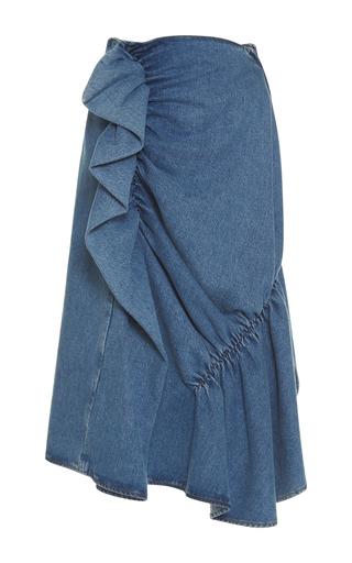 Medium j w anderson blue high waist ruffle denim skirt