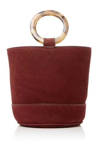 Medium simon miller burgundy suede bonsai bucket bag