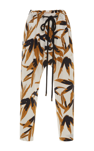 Medium marni ivory drawstring printed trousers
