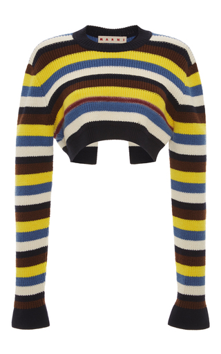 Medium marni black striped cropped knit