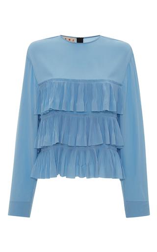Medium marni blue long sleeve tiered top