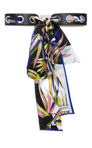 Medium emilio pucci black needle and thread scarf belt