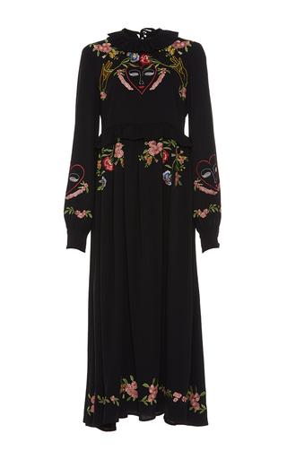 Medium vivetta black moscerino embroidered midi dress