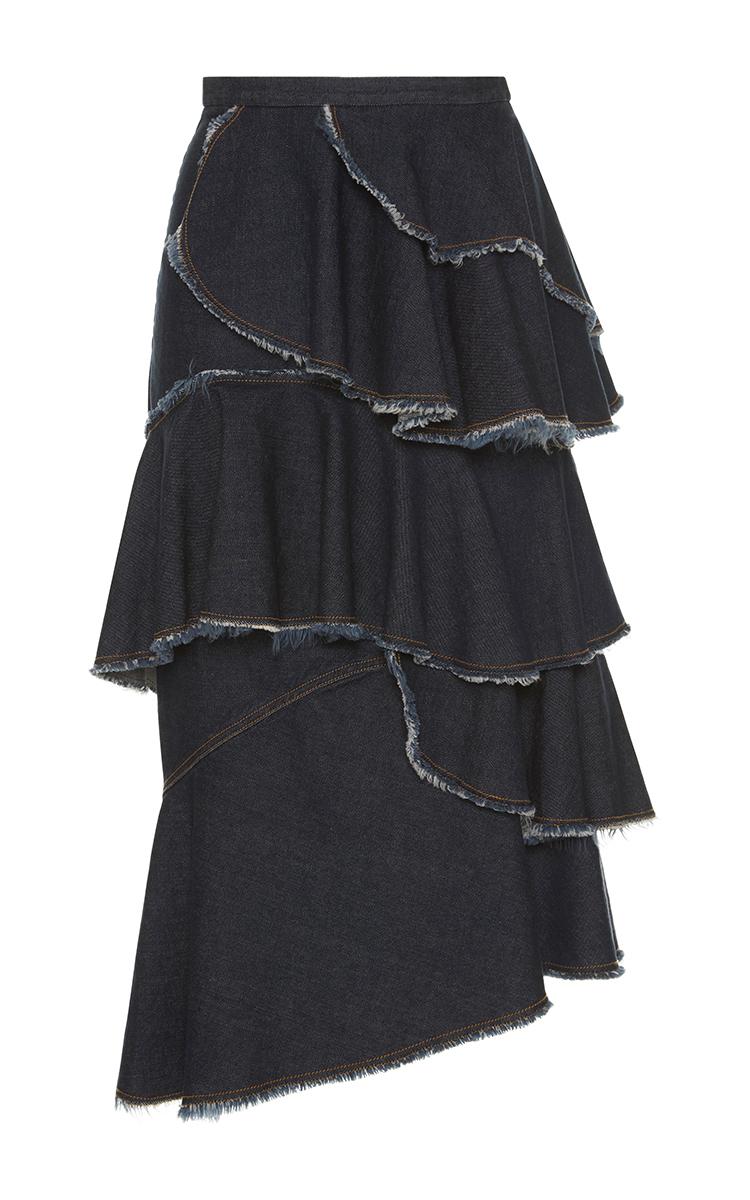 asymmetrical tiered denim skirt by antonio marras moda
