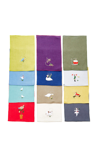 Medium julia b couture linens white 12 days of christmas cocktail napkin set