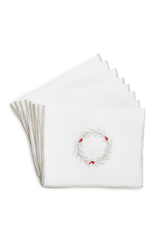 Medium julia b couture linens white wreath cocktail napkin set