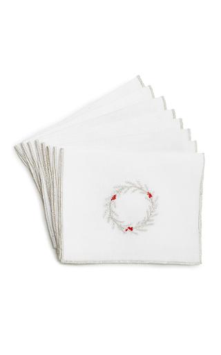 Medium julia b couture linens white wreath cocktail napkin set
