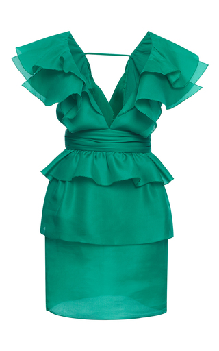 Medium emanuel ungaro turquoise ruffle minidress