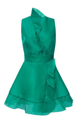 Medium emanuel ungaro turquoise wrap ruffle mini dress