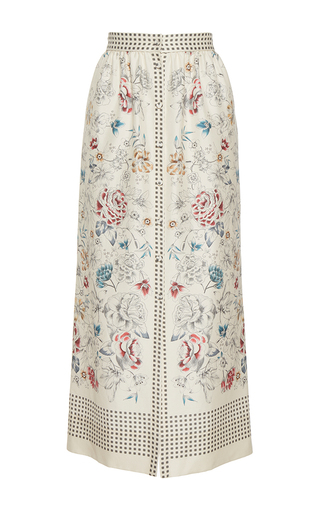Medium vilshenko white the willow print button down midi length skirt