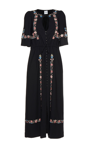 Medium vilshenko black the ruby heart embroidered button down midi dress