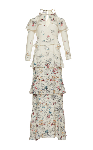 Medium vilshenko floral the annabelle print jacquard tiered full length dress