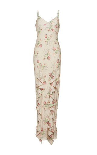 Medium vilshenko off white the bella double georgette bias cut full length dress