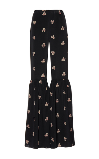 Medium vilshenko black the jessica light crepe trouser with gathered calf flare