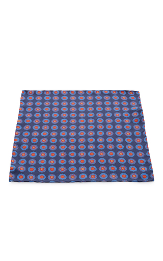 Medium artisanal milano blue silk pocket square