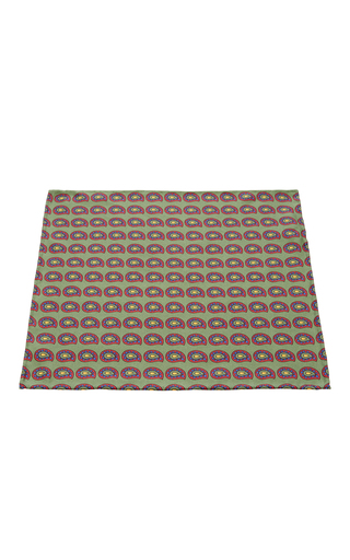 Medium artisanal milano green silk pocket square
