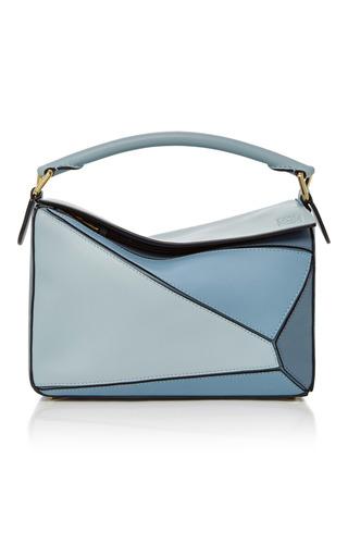 Medium loewe blue puzzle leather shoulder bag