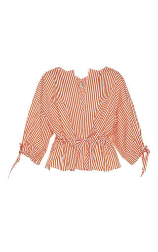 Medium maison rabih kayrouz stripe striped poplin tie waist top