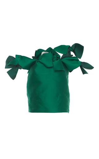 Medium maison rabih kayrouz green satin cold shoulder tie top