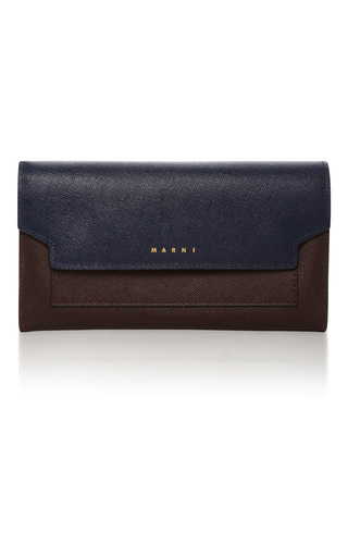 Medium marni brown two tone textured leather wallet