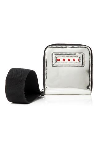 Medium marni silver mirrored leather wallet