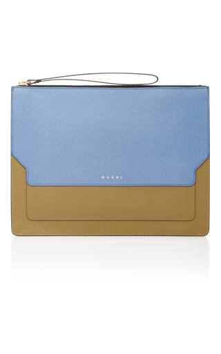 Medium marni blue color block leather clutch