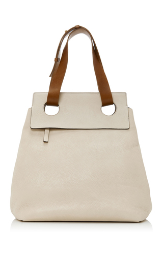 Medium marni neutral leather shopping bag