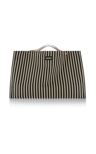 Medium marni black white striped canvas tote