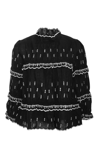 Medium isabel marant etoile black daniela scalloped ruffle blouse