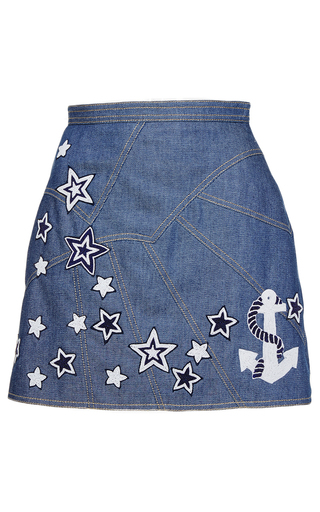 Medium andrew gn blue denim mini skirt