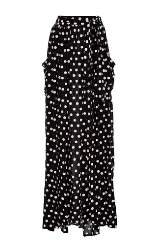 Medium mara hoffman black white polka dot maxi skirt